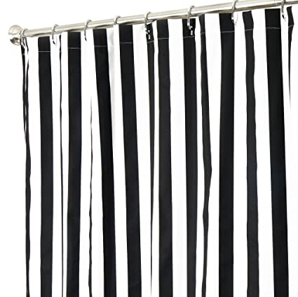 Extra Long Shower Curtain Fabric Curtains Black And White Striped 84 Inch