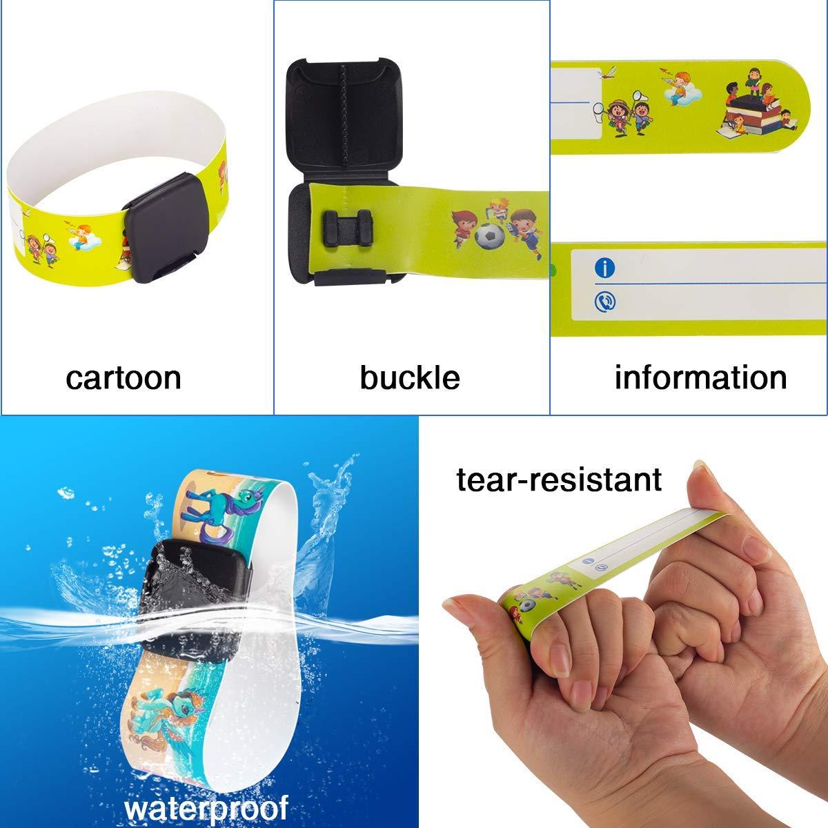 Luchild Pulsera Seguridad Ni/ños Infoband Pulseras Identificacion Bebe ID Pulsera de Emergencia Resistentes Reutilizables