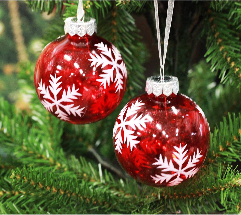 Sleetly Shatterproof Christmas Ornaments Snowflake Balls Set Of 24 Home Kitchen