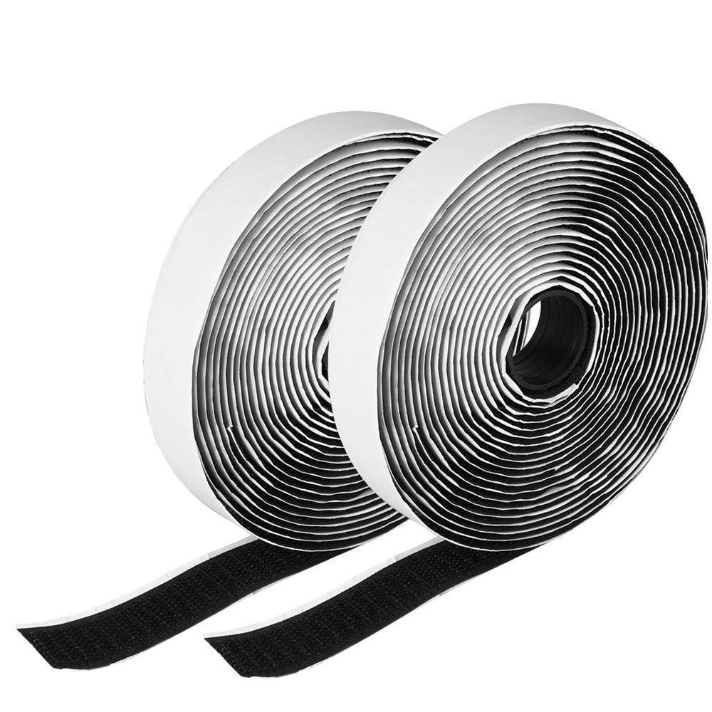 Wss–2m nero con gancio e anello set autoadesivo, larghezza 20mm, striscia di nastro adesivo di fissaggio Art Craft Warehouseshop