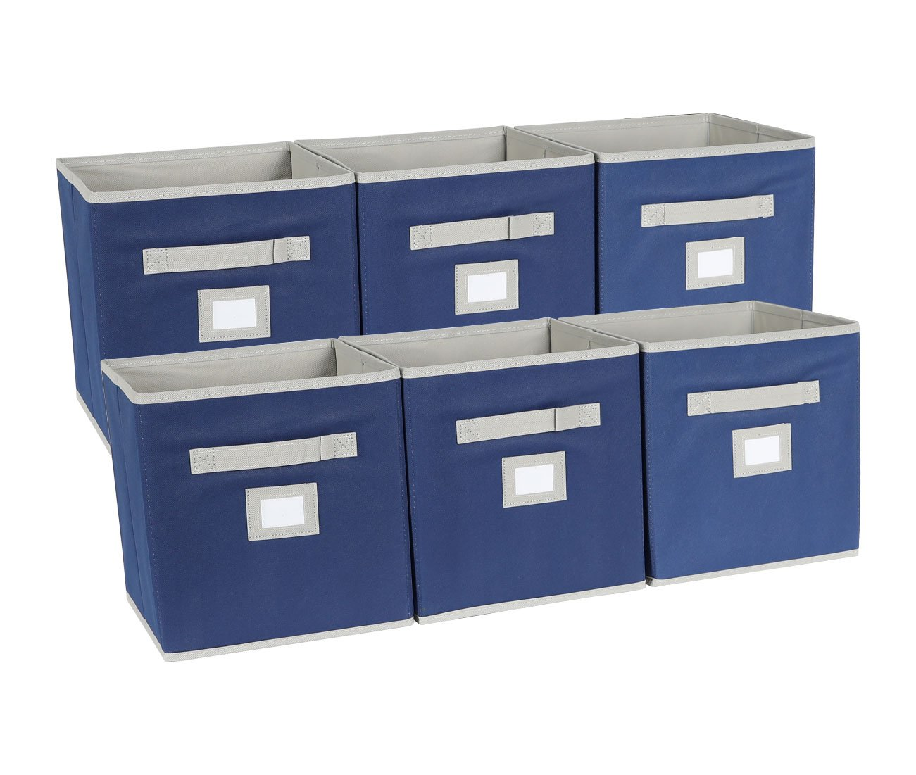 EPG-Life 6 Pack Collapsible Storage Cube Foldable Basket Bins Organization with Label Holder and Dual Fabric Handle, Blue