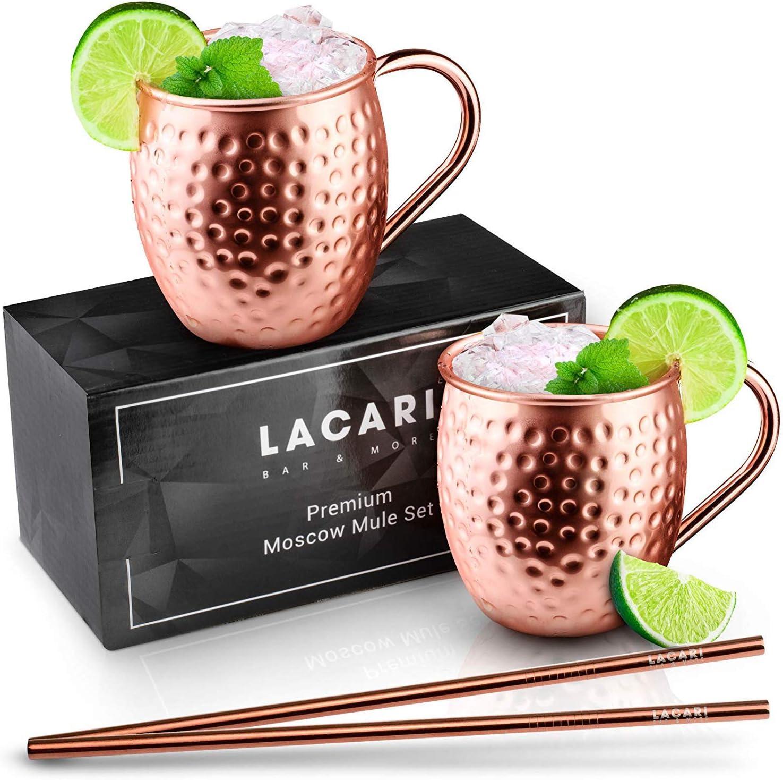 2X Kupferbecher LACARI® Bar  More Moscow Mule Becher Unschlagbares Set aus