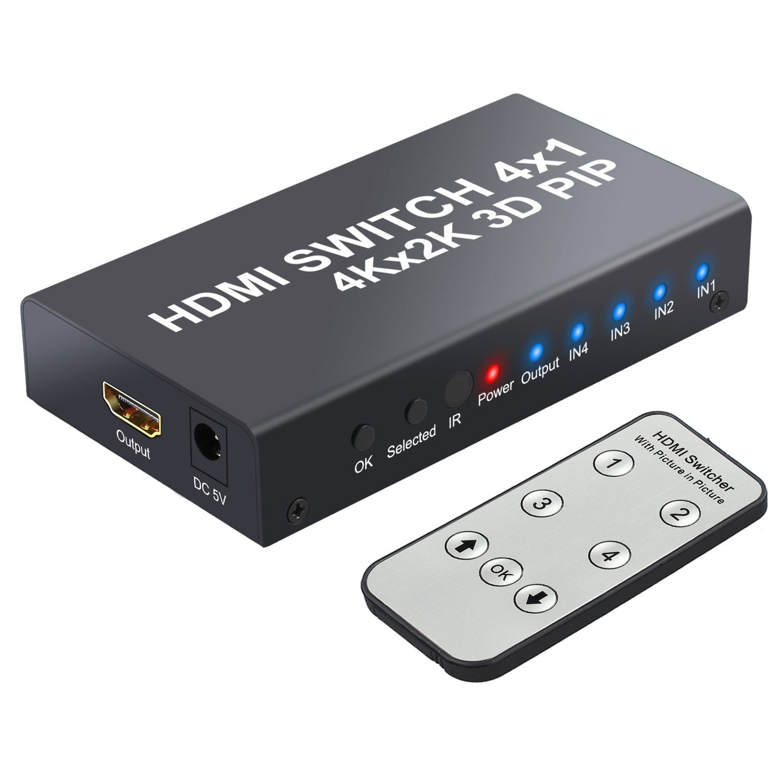HDMI Switch with PIP LiNKFOR 4 Port HDMI Switcher Hub 4K 2160P HDMI High Speed Switcher With IR Remote Control and Power Adapter for 4K HDTV Monitor DVD Players PC Projector SKY Box PS3 PS4 Xbox