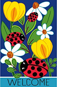 Evergreen Flag Ladybug Friends Garden Applique Flag 12.5 x 18 Inch Double Sided Durable Outdoor Flag for Homes and Gardens
