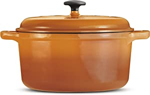 Tramontina 80131/623DS Style Cast Iron Covered Round Dutch Oven, 6.5 Qt, Orange
