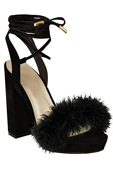 33922a124d Ladies Faux Suede Tie Lace Up Fluffy Fur High Chunky Block Platform Heels [ Black Suede