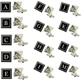 LBFEEL Monogram Cufflinks,Personalized Mens Cufflinks,Custom Initial Cufflinks with Cufflink Box
