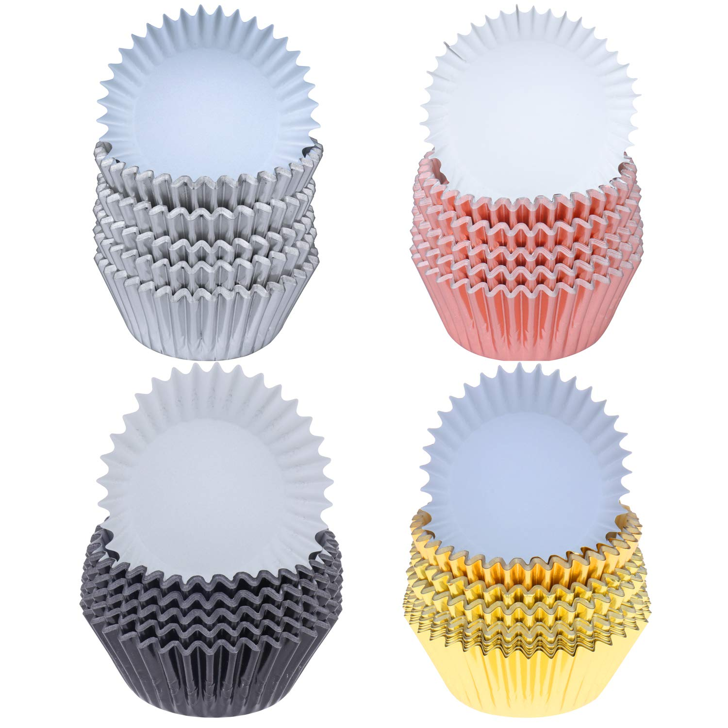 SUBANG 400 Pieces Tulip Cupcake Liner Baking Cups Muffin Tins Treat Cups Foil Metallic Cupcake Liners for Weddings,Birthdays,Baby Showers,Silver Rose Gold Black and Gold
