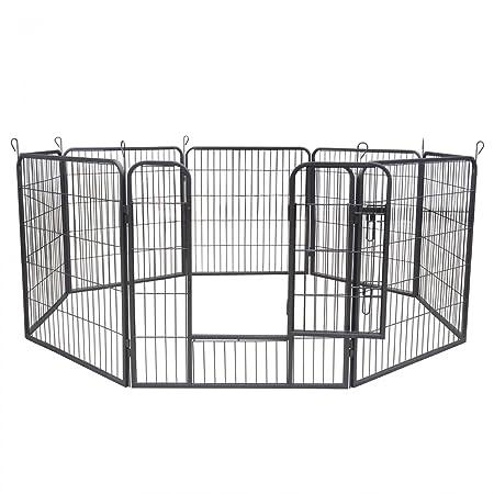 zoomundo Parque Perros Jaula Plegable Mascotas Para Animales Entrenamiento Puerta Recinto Gatos 8 Vallas: Amazon.es: Productos para mascotas