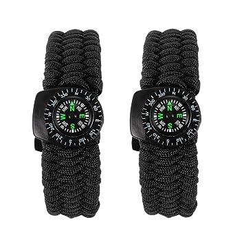 Outdoor Survival Überleben Armband Pfeife Seil grün schwarz
