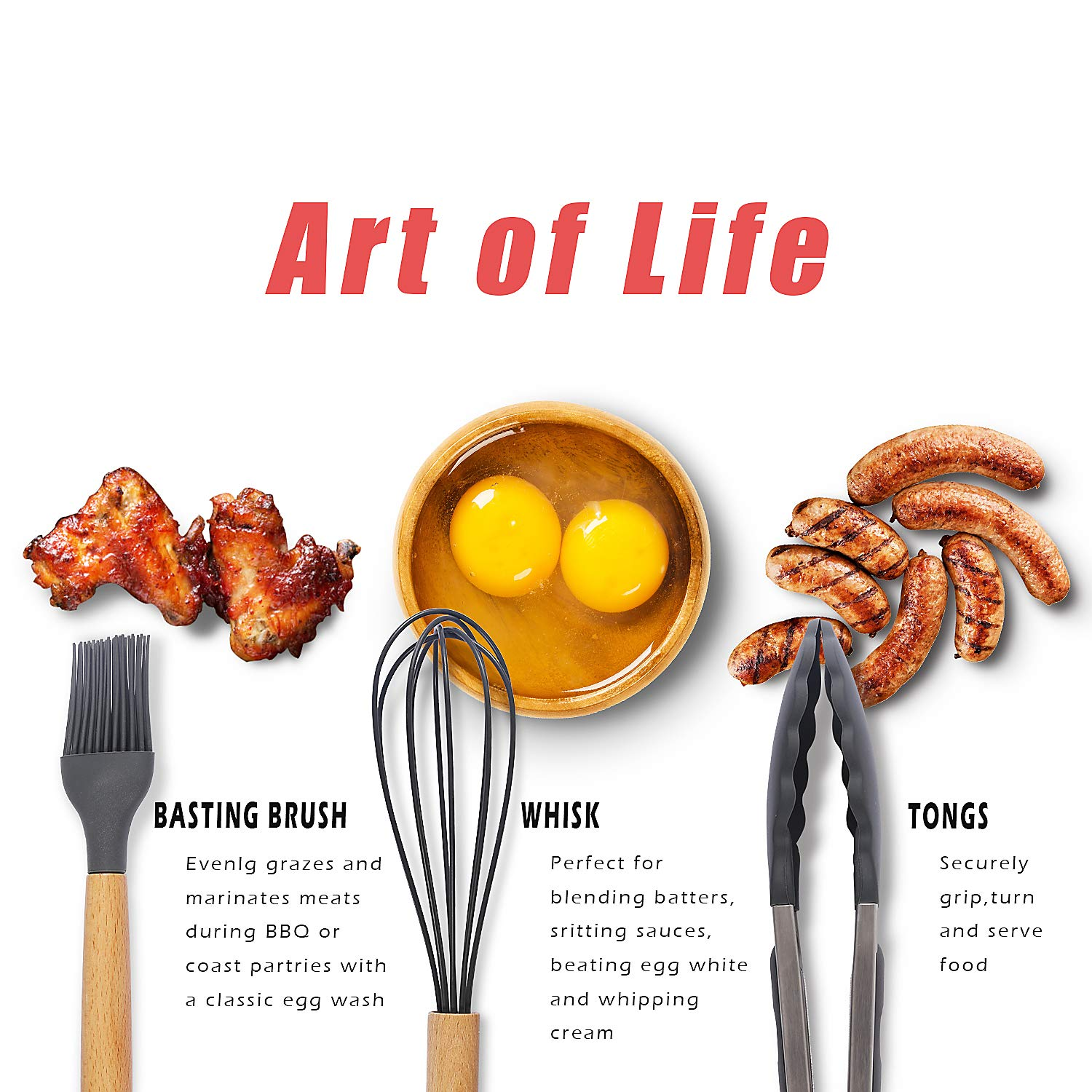 Kitchen Utensil Set - 11 Piece Cooking Utensils - Non-stick Silicone and Wooden Utensils. BPA Free, Non Toxic Turner Tongs Spatula Spoon Set. Best Chef Kitchen Tool Set Gray - Chef's Hand by Chef's Hand (Image #2)