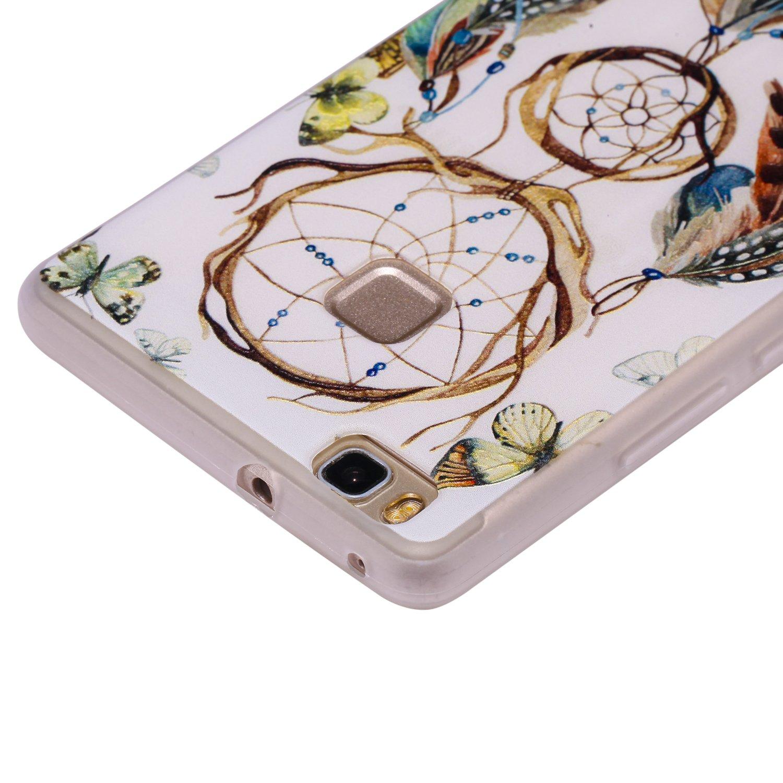 Fiore Farfalla Viola COZY HUT Custodia Cover Huawei P9 Lite Silicone Cover Bumper Case Antiscivolo Antiurto Ultra Sottile TPU Morbida Protettiva Case per Huawei P9 Lite