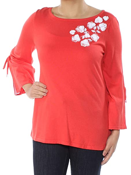 Charter Club Women s Applique Contrast Sweater (Poppy Glow b80d1b6afb