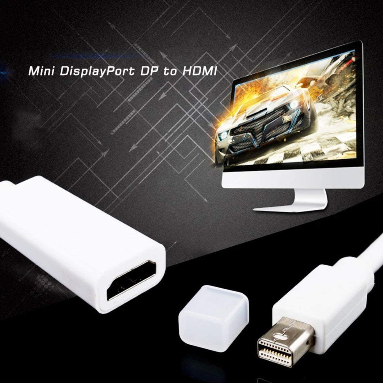 Video Cables and connectors,Portable Audio Multimedia Mini Display Ports Mini DP to HDMI Adapter Short Cable Cord for MacBook Pro for iMac Air