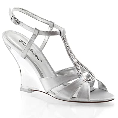 9f31c8e362 Summitfashions Womens Satin Silver Wedges Shoes with 4 Inch Clear Heels and  Rhinestone Detail Size: