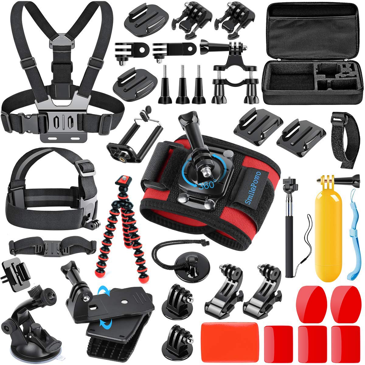 SmilePowo 42-in-1 Accessorries Kit for GoPro Hero 7 6 5 4 3/3+ 2 1 2018 Session/Fusion Black Silver DBPOWER AKASO APEMAN YI Campark SJCAM Sony Sports DV Action Camera with Carrying Case/Chest Strap by SmilePowo