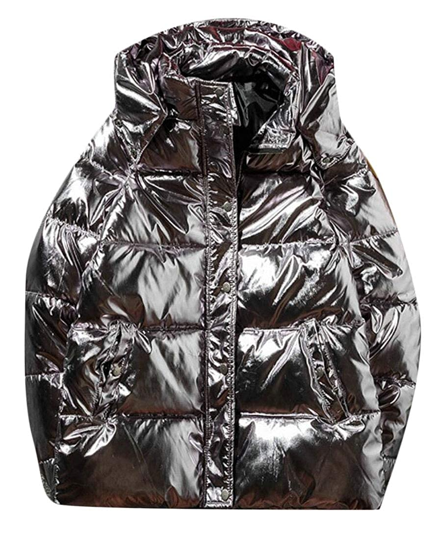 WSPLYSPJY Mens Hipster Hooded Shiny Quilted Thicken Metallic Down Jacket Coat