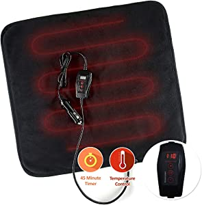Zone Tech Car Mini Heated Travel Blanket Pad – Classic Black Premium Quality 12V Heated Car Mini Blanket Pad Perfect for Winter Travel