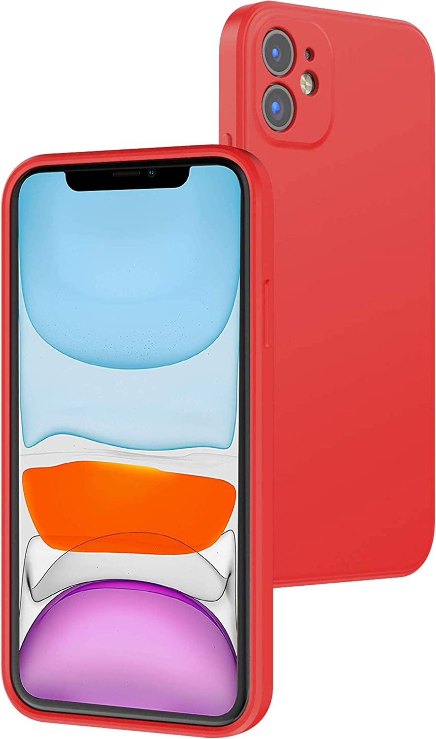 iPhone11 Case Compatible with iPhone 11 Cases 6.1 inch(2019), Soft Liquid Silicone Case with Microfiber Lining Phone Cover for iPhone11 (red)