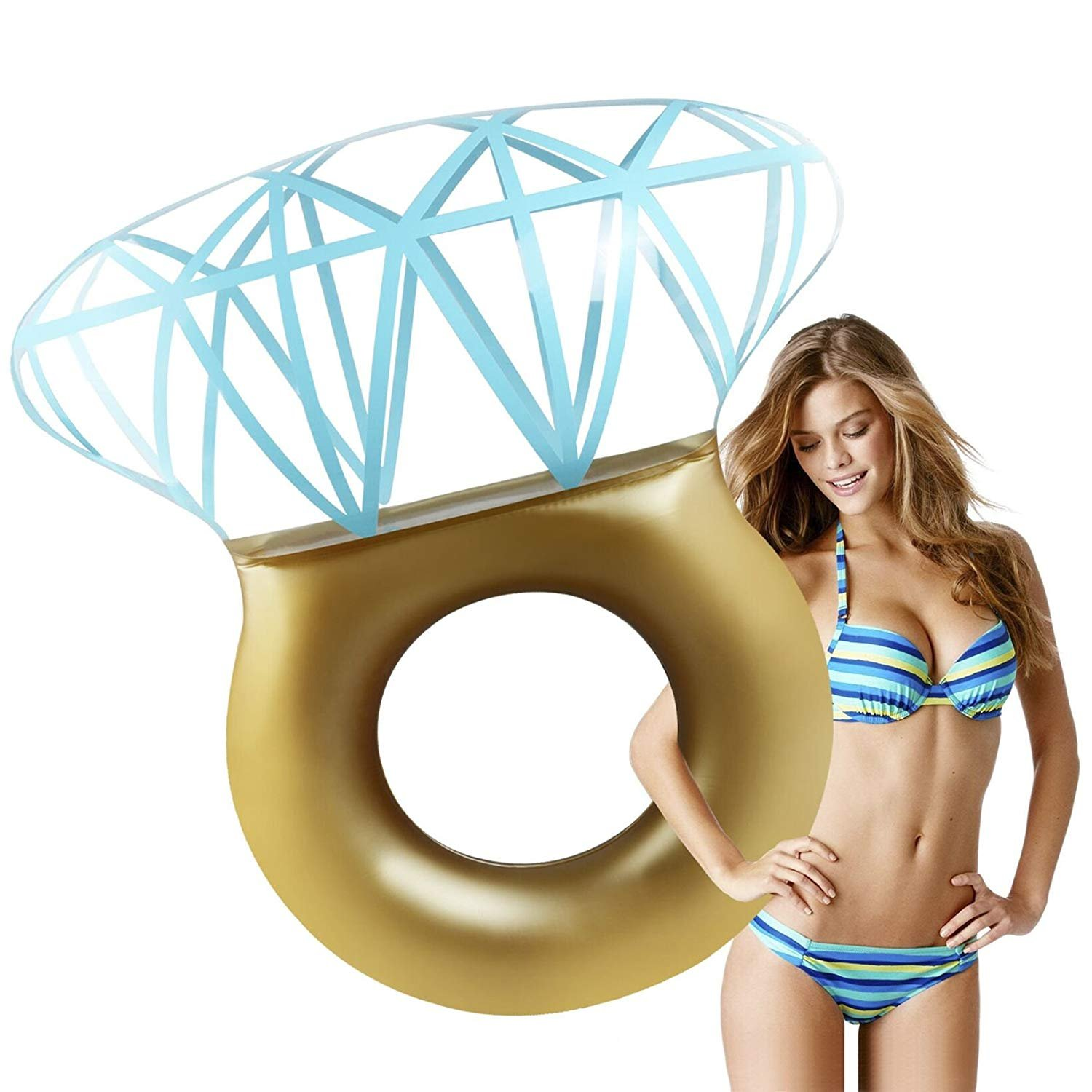 Zakara Diamond Ring Swimming Pool Inflatable Float for Bachelorette Parties Summer 2018