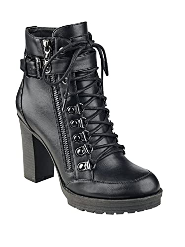 Womens Grazzy Round Toe Mid-Calf Combat Boots
