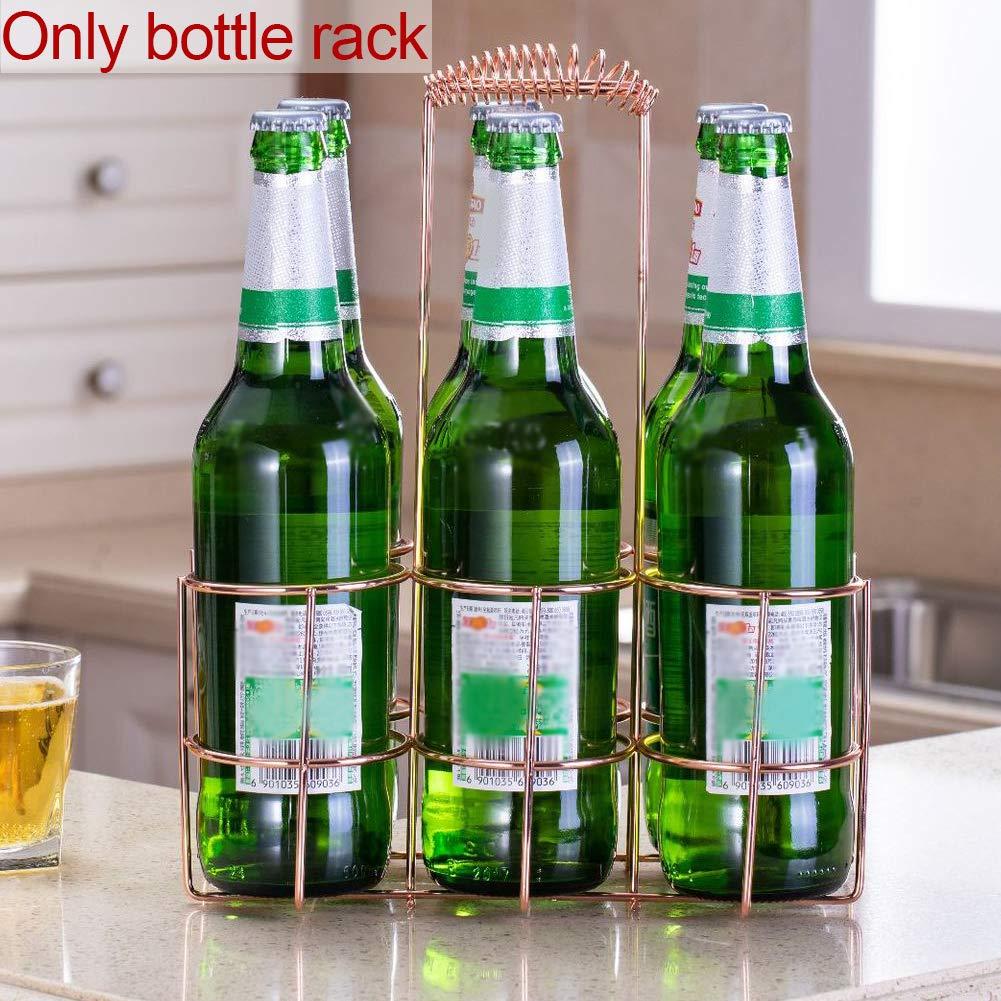 Taglia Libera NANAD per 6 Bottiglie di Birra Rose Gold Porta Birra in Ferro salvaspazio per conservare Bottiglie di Birra e Vino Organizer Portatile da Cucina con Manico