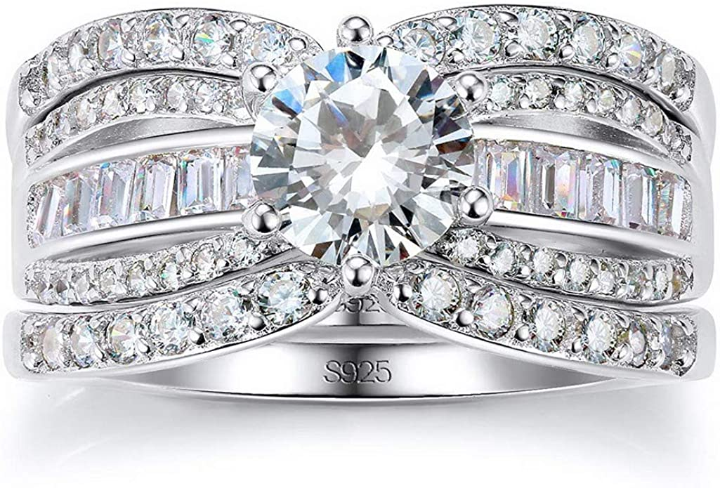 Women/'s Stainless Steel AAA CZ Engagement Wedding Ring Set Size 5,6,7,8,9,10,11
