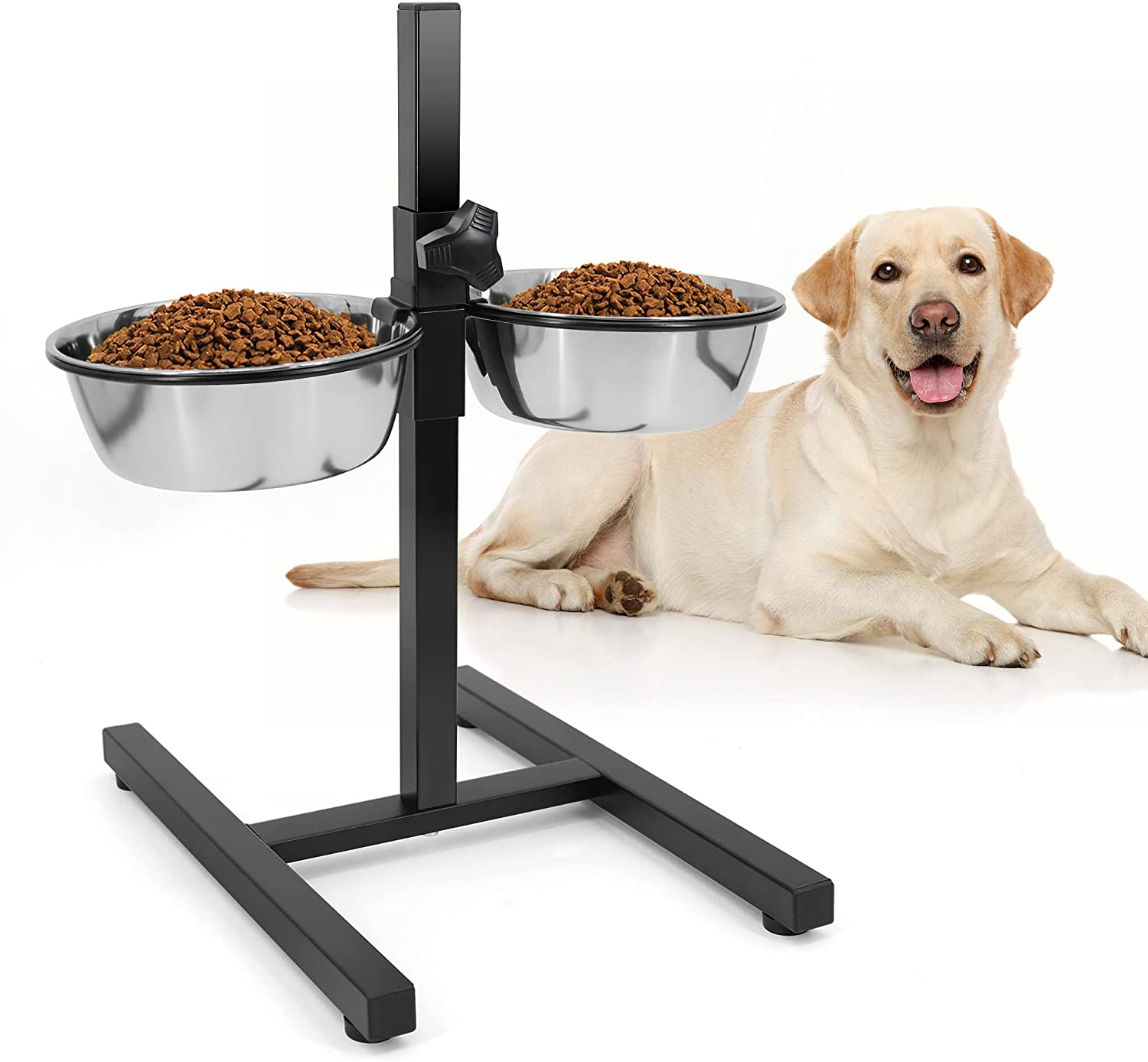 Elevated Double Stainless Steel Dog Bowls with Iron Stand Rack Adjustable Raised Height Dog Food and Water Feeder Pet Dining Table Pet Diner Dish Bowls for Dog Cat Puppy Rabbit Guinea Pig Chinchilla
