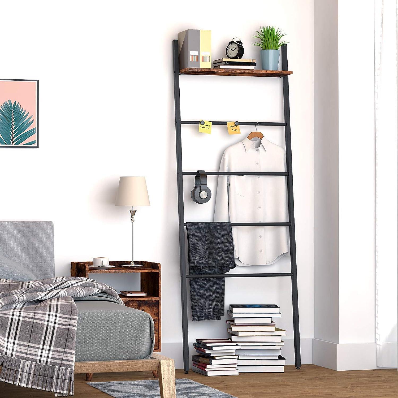 Leiterregal im Industriestil Badezimmer stabiles Badst/änder Handtuchst/änder mit 5 Ebenen einfach zu Montieren Vintage EBF73CJ01 Schlafzimmer HOOBRO Handtuchleiter f/ür Wohnzimmer