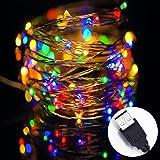 Solla 10 metri Stringa fata luce 100 LED USB IP67 impermeabile filo di rame Ghirlanda luminosa Atmosfera decorazione di Natale /Festa /Sera /Anniversario /Casa /Ristorante /Giardino /Bar/ Albero/Compleanno Multicolor