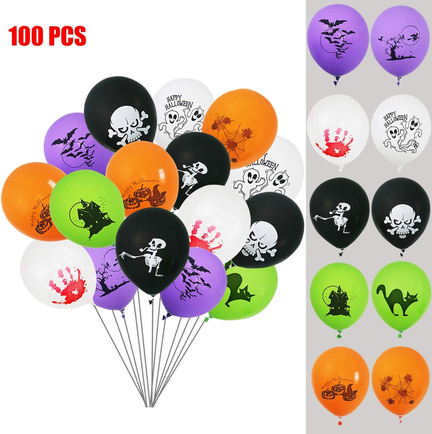 15 PCS Halloween Bloody Hand Print Balloons  Pack Party Decoration Latex Balons