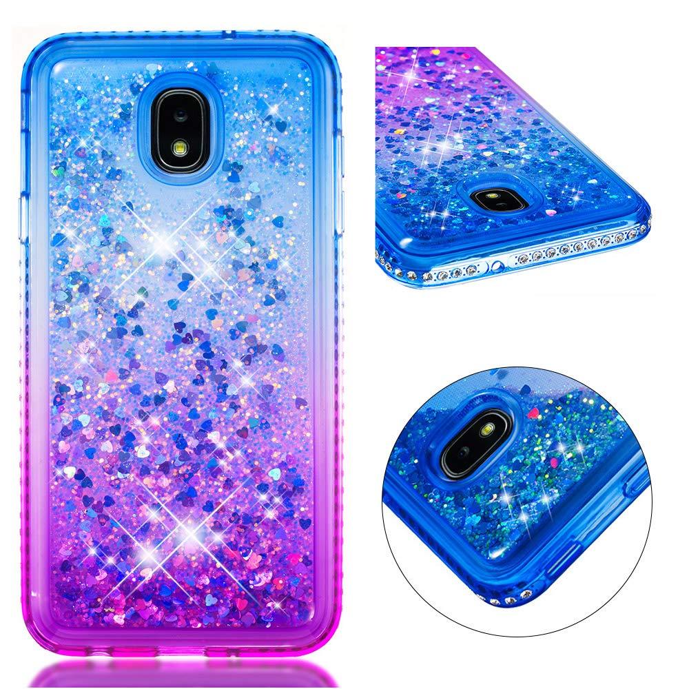Galaxy J7 2018,Galaxy J7 Aero/J7 Top/J7 Refine/J7 Star/J7 Crown/J7 Aura Case, Tznzxm Glitter TPU Gradient Quicksand Bling Diamond Defender Protective Case for Samsung Galaxy J7 2018 Blue & Purple