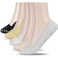 UMIPUBO 5 Pares Calcetines para Mujer Invisibles Cordón De Algodón Calcetines Cortos Elástco Con Silicona Antideslizante…