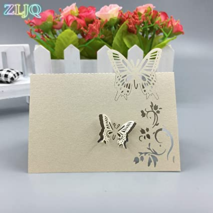 Amazon Com Chitop 100pcs Wedding Table Name Card Fashion Butterfly