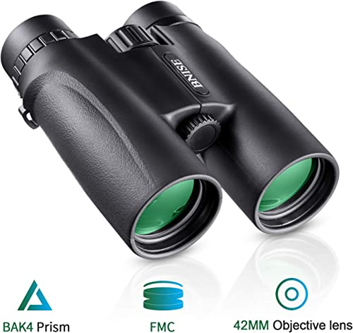 BNISE Binoculars for Adults, 10×42 HD Asika Military Telescope for Hunting and Travel – Compact Folding Size – High Clear Large Vision – Black Color