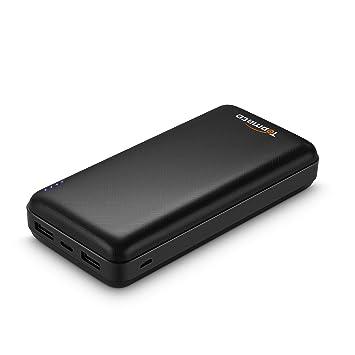 Topmate Power Bank Cargador portátil 20000mAh batería Externa | 1 Entrada de micrófono | 1 Entrada y Salida Tipo C | 2 Salidas USB | Baterías de ...