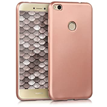 selezione migliore 7f784 7f7b8 kwmobile TPU Silicone Case for Huawei P8 Lite (2017) - Soft Flexible Shock  Absorbent Protective Phone Cover - Metallic Rose Gold
