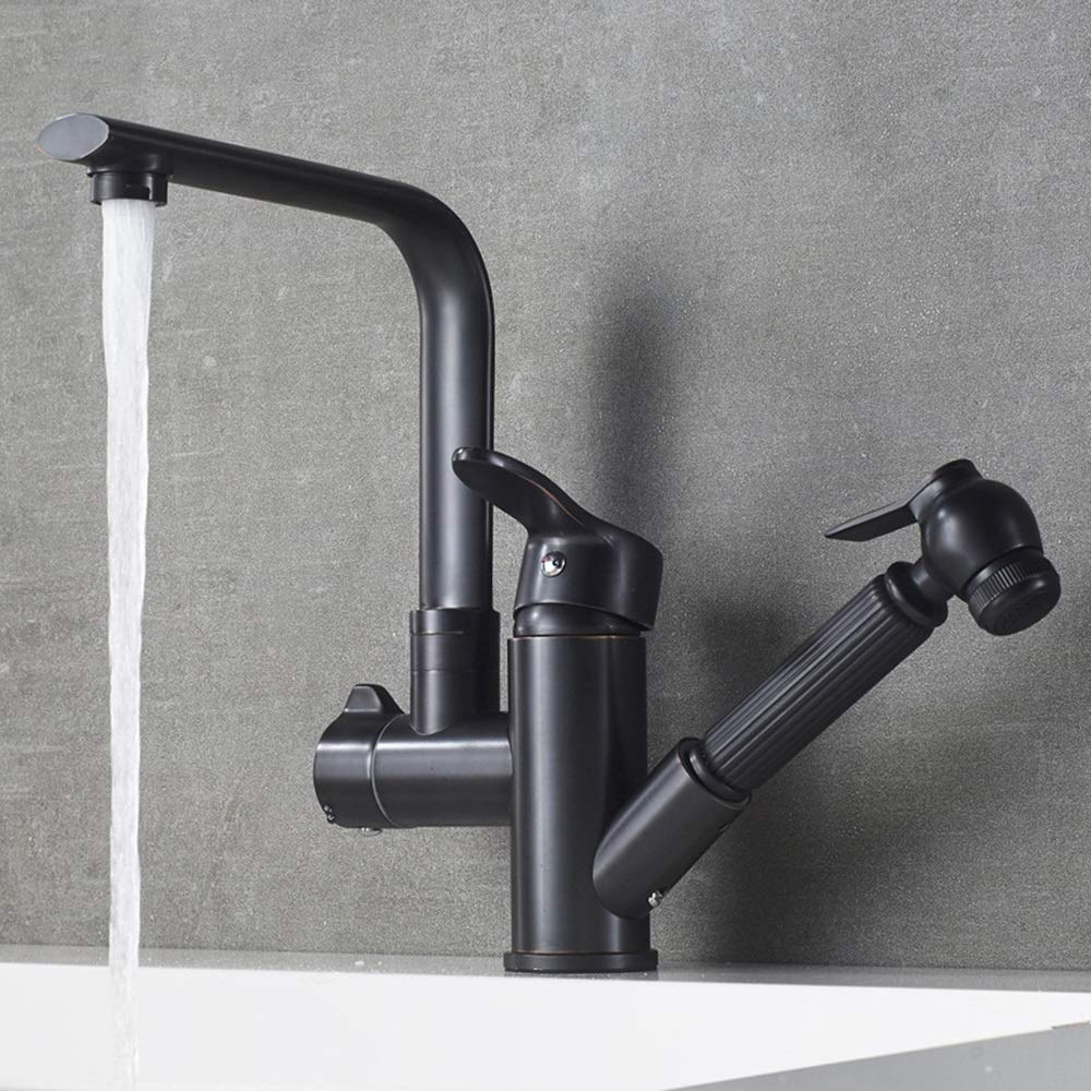 Round Short Practical American Copper Black Ancient Pull-type Basin Multifunction Hot And Cold Water Faucet redatable Black Frosted Kitchen Sink Faucet durable (color   Round height)