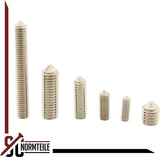 DIN 914 SC-Normteile - SC914 - Madenschrauben Gewindestifte mit Innensechskant und Spitze ISO 4027 - aus rostfreiem Edelstahl A2 25 St/ück V2A M4x5 -