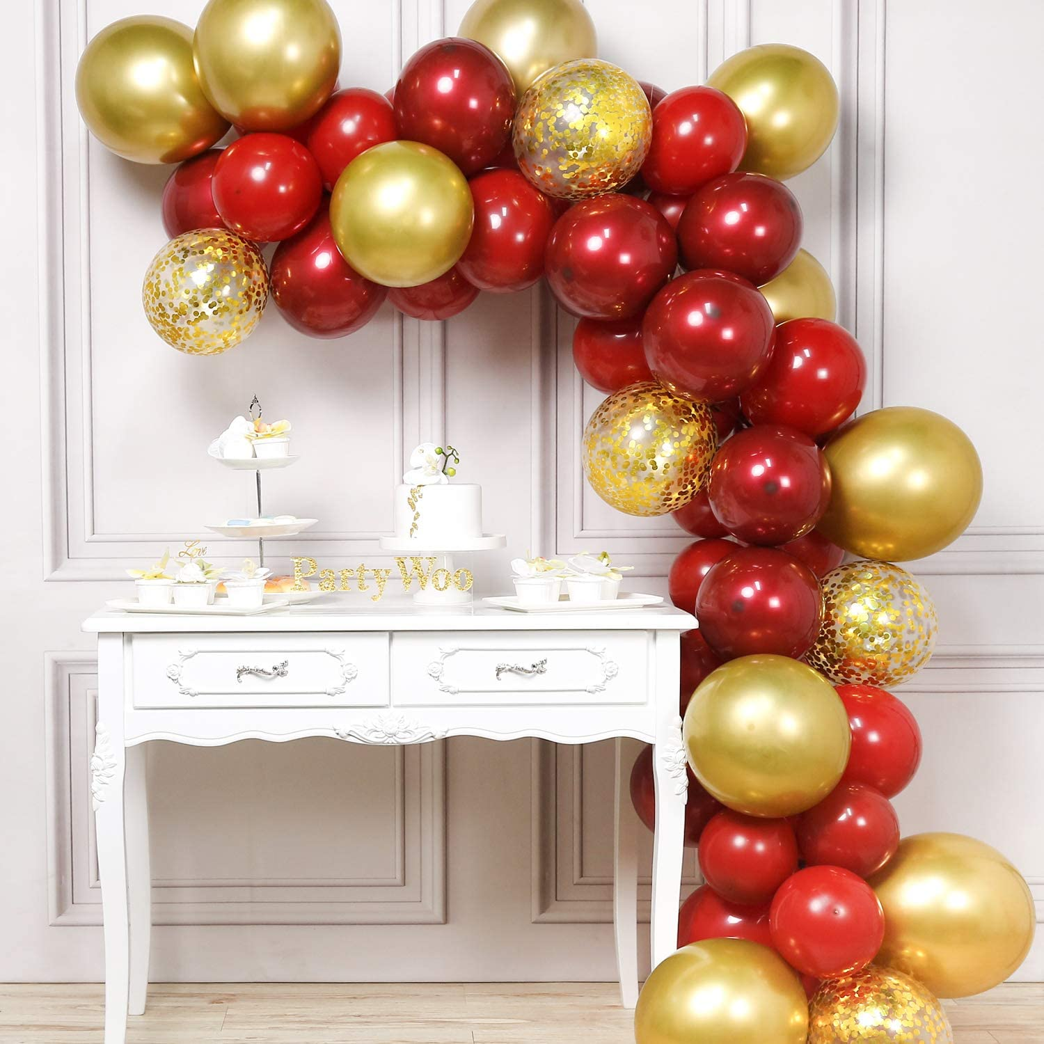 PartyWoo Red and Gold Balloons, 50 pcs Burgundy Balloons, Ruby Red Balloons, Gold Confetti Balloons, Gold Metallic Balloons for Red and Gold Party Decorations, Burgundy Party Decorations