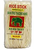 Asian Best Premium Rice Stick Noodle Medium, 16oz (3 Pack)
