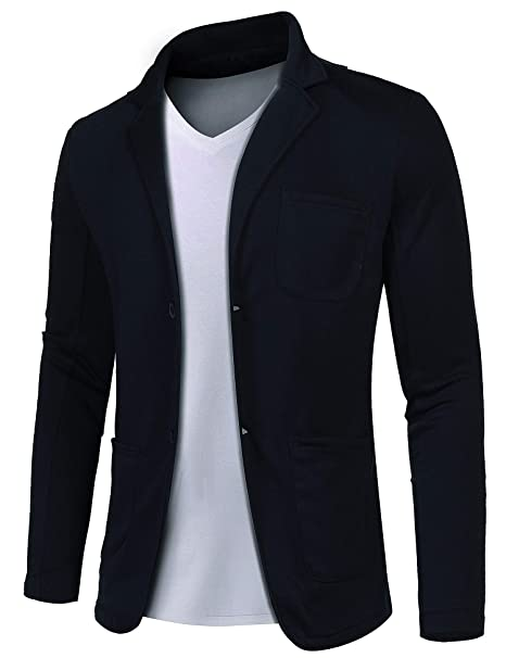 MAXMODA Blazer de Algodón Slim para Hombre Chaqueta Estilo Casual Abrigo con Dos Botones S-XXL: Amazon.es: Ropa y accesorios