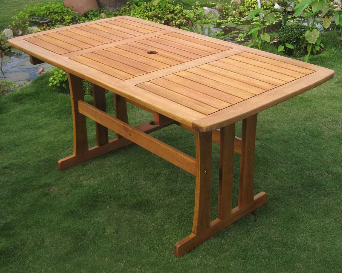 International Caravan TT-RE-007-IC Furniture Piece Royal Tahiti Outdoor Wood Rectangular Dining Table