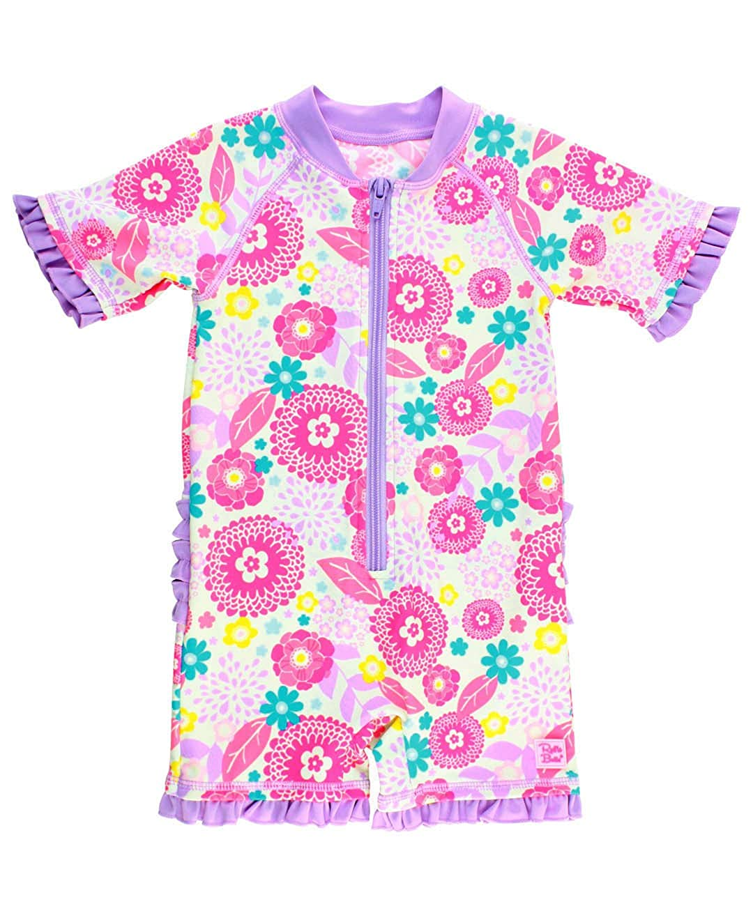 RuffleButts Baby/Toddler Girls Floral One Piece UPF 50+ Sun Protective Rash Guard Swimsuit Short Sleeve Romper RGSPUXX-1PST-BABY