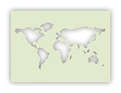 World Map Mylar Stencil A4 297x210mm Wall Furniture Art Amazon Co