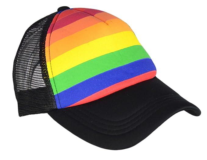 6625d5f3b Rainbow Stripes Snapback Hat, LGBT Pride Bright Mesh Trucker Baseball Cap