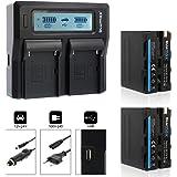 2x Blumax Akku NP-F970 / Np-F960 7850mAh + Doppelladegerät NP-F970 / Np-F960 Dual Charger   passend zu NP-F970 NP-F960 NP-F990 NP-F550 NP-F750 NP-FM50 NP-FM500H NP-FM500    2 Akkus gleichzeitig Laden