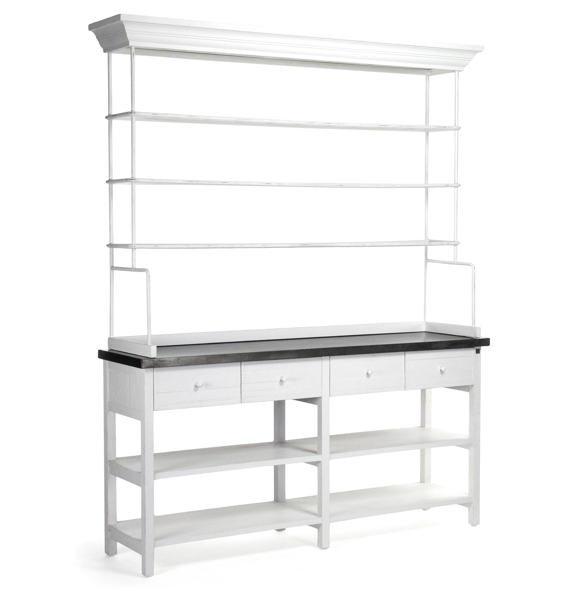 Marion Classic White Industrial Metal Large Display Shelf Bakers Rack