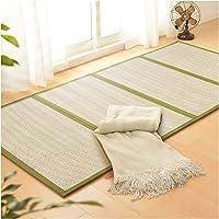 Foldable Bamboo Carpet Breathable Mattress Natural Fiber Rug Cooling Rattan Floor Mat for Bedroom Corridor Bay Window, 3…