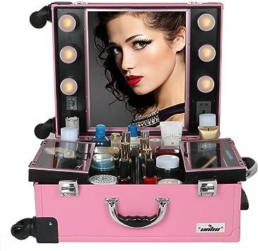UNHO® Maleta Profesional de Maquillajes con Ruedas, Maletín de Cosméticos, Estuche de Maquillajes Profesional, con 6 Bombillas de Luces: Amazon.es: Equipaje